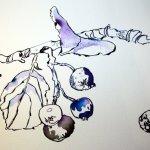 Detail blaue Vogelbeere (c) Zeichnung von Susanne Haun