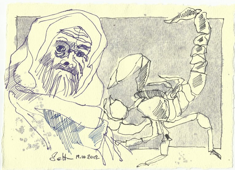 Blatt 13 Dort hauste ich mit Skorpionen (c) Zeichnung von Susanne Haun