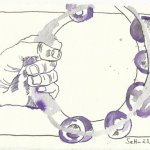 Blatt 18 Beim Lärm der Tamburine (c) Zeichnung von Susanne Haun