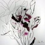 Rosa Blüte, Vers. 1 Tusche auf Bütten 30 x 40 cm (c) Foto und Zeichnung von Susanne Haun