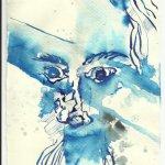 Die Gesichter des Kreuzes warfen Schatten Version 2 (c) Zeichnung von Susanne Haun