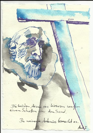 Die beiden Arme des Kreuzes warfen Schatten über den Sand (c) Zeichnung von Susanne Haun