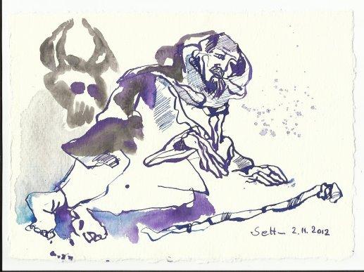 Blatt 38 Es ist sinnlos sich das Hirn zu zermatern(c) Zeichnung von Susanne Haun