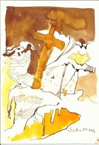 Landschaft mit Kreuz 17 x 22 cm Tusche auf Bütten (c) Zeichnung von Susanne Haun