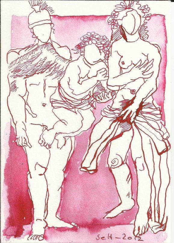 Tarot Die Liebenden 18 x 13 cm (c) Zeichnung von Susanne Haun (3)