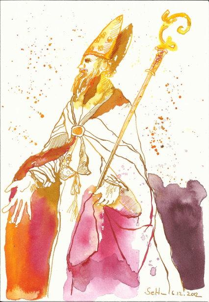 5 Nikolaus 22 x 17 cm Tusche auf Bütten (c) Zeichnung von Susanne