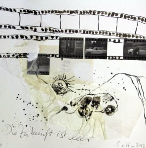 Blatt 11 Die Zukunft ist leer 25 x 25 cm (c) Collage von Susanne Haun
