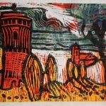 Ein Schloss im Märchen dunkelgrün (c) Linolschnitt von Susanne Haun