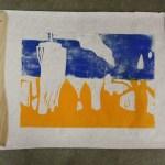 blau - gelber Druck der ersten Platte (c) Foto von Susanne Haun
