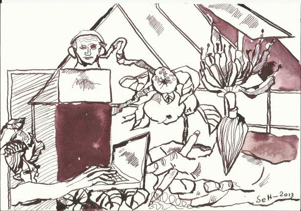 Blatt 1 Gewächshaus-Generation (c) Zeichnung von Susanne Haun