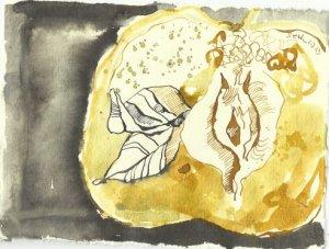 Blatt 78 Das Fruchtfleisch wölbt sich zu liebenden Lippen (c) Zeichnung von Susanne Haun