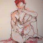 Akt sitzend mit aufgestütztem Gesicht - 40 x 30 cm (c) Aquarell von Susanne Haun