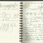 Erst wollte ich die Landschaft zeichnen (c) Notizbuch Susanne Haun