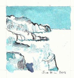 An der Küste (c) Zeichnung von Susanne Haun