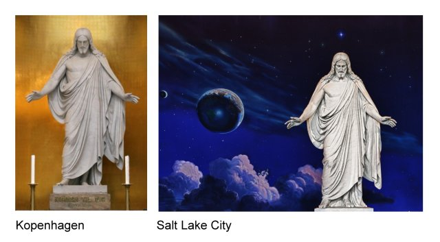 Vergleich Christus Figur Kopenhagen - Salt Lake City
