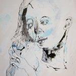 Entstehung - Die Zopfflechterin - Tusche auf Leinwand (c) Zeichnung von Susanne Haun