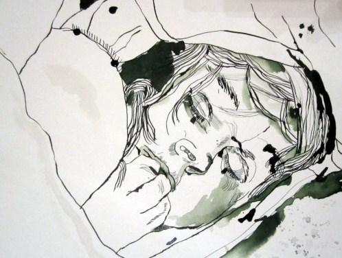 Angst vor den eigenen Gedanken (c) Zeichnung von Susanne Haun