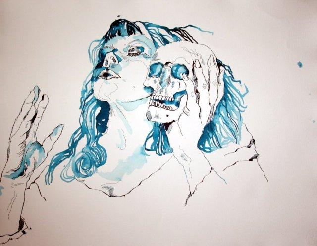Entstehung - Die eigene Vergänglichkeit - 65 x 50 cm (c) Zeichnung von Susanne Haun