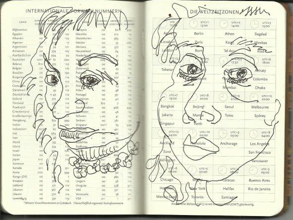 Selbstportrait Tagebuch Internationale Vorwahlnummern (c) Zeichnung von Susanne Haun