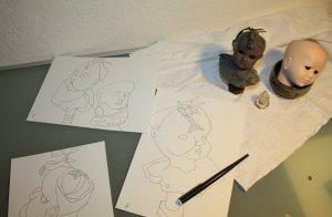 Die Puppe in der Entstehung (c) Foto von Susanne Haun