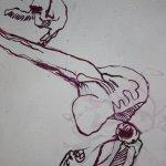 Ich zeichne den Anschluss Knochen zum Skorpionschwanz neu (c) Zeichnung auf Leinwand von Susanne Haun