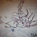 Die Beine des Skorpions entstehen auch neu (c) Zeichnung auf Leinwand von Susanne Haun