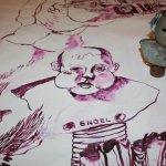 Modell und Zeichnung (c) Zeichnung auf Leinwand von Susanne Haun