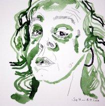 Selbst am 8.4.2014 - Tusche auf Bütten - 25 x 25 cm (c) Zeichnung von Susanne Haun