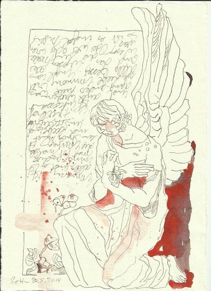 Engel Liesenfriedhof Version 1 (c) Zeichnung von Susanne Haun