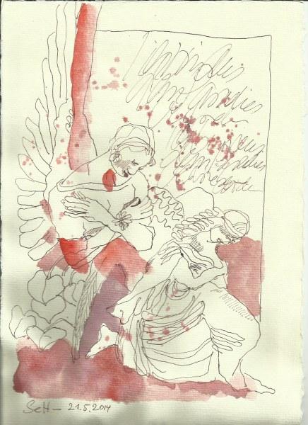 Engel Liesenfriedhof Version 2 (c) Zeichnung von Susanne Haun