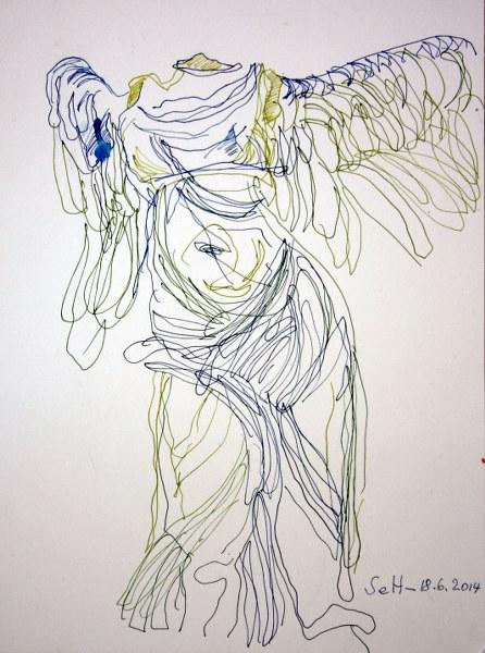 Nike von Samothrake - Vers. 2 - 31 x 23 cm - Tusche auf Lana Bütten (c) Zeichnung von Susanne Haun