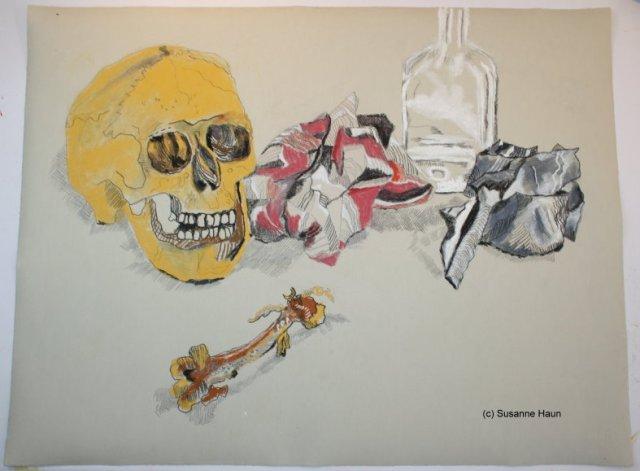 Vanitas - 47 x 61 cm - Pastell auf Hahnemühle Ingres Bütten (c) Zeichnung von Susanne Haun klein
