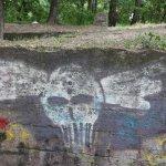 Graffiti auf dem gesprenkten Bunker im Humboldthain (c) Foto von Susanne Haun
