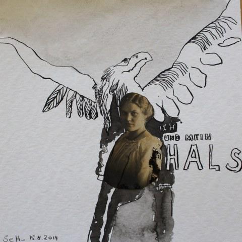 Blatt 43 - Ich und mein Hals  - 25 x 25 cm (c) Collage von Susanne Haun