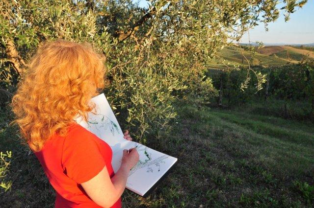 Susanne Haun zeichnet die Toskana (c) Foto von M.Fanke