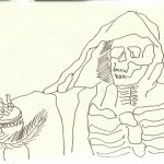 Skelett in S. Pietro in Vincoli (c) Zeichnung von Susanne Haun 0001