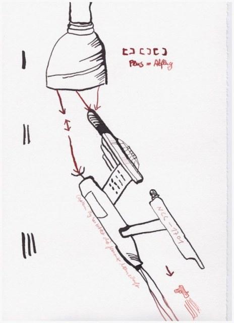 Weggegossen No. 8 b (c) Zeichnung von Susanne Haun