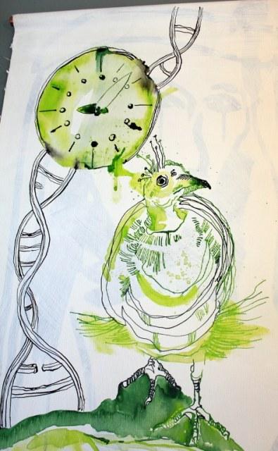 In unserer Zeit (c) Entstehung Zeichnung auf Leinwand von Susanne Haun
