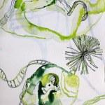 Die Geburt (c) Entstehung Zeichnung auf Leinwand von Susanne Haun