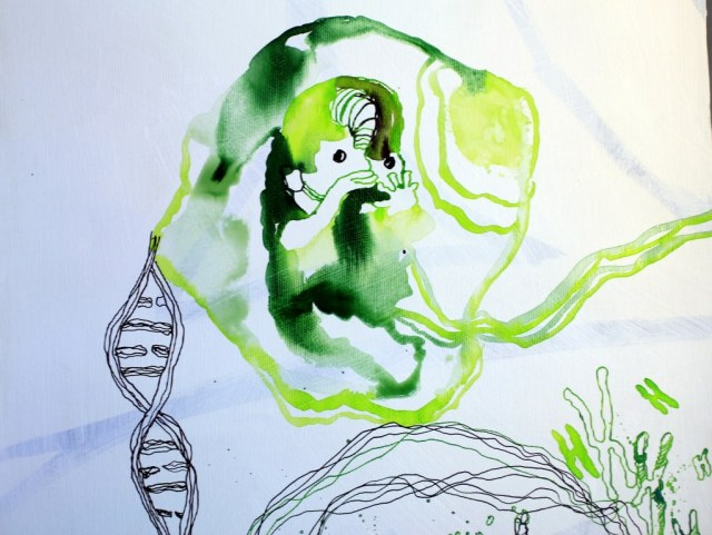 Der erste Monat (c) Entstehung Zeichnung auf Leinwand von Susanne Haun