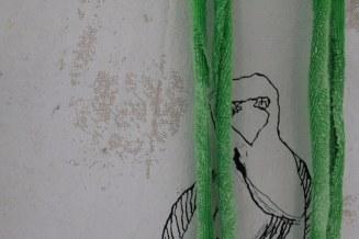 Detail 1. Rabe Veritable Wax Block Prints Hitarget 1315704 - 125 x 125 cm (c) Zeichnung auf Leinwand von Susanne Haun