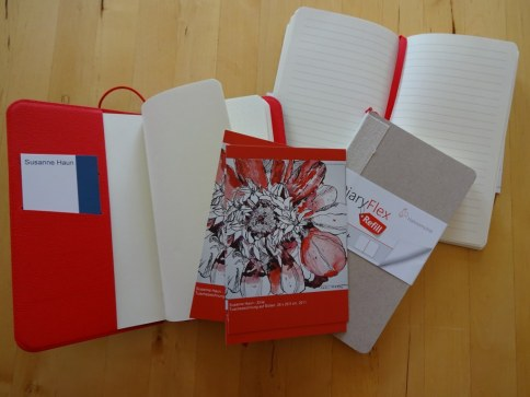 Diary Flex von Hahnemühle mit meinen Utensilien (c) Foto von Susanne Haun