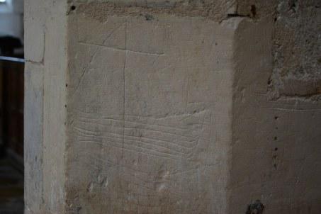 Graffitti aus dem Mittelalter in St Margaret's Church in Cley next the sea (c) Foto von M.Fanke