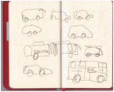 Im Kaffee der co - Autos (c) Zeichnungen von Susanne Haun