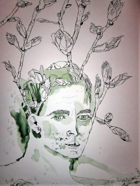 Inspiration - Auschnitt Rolle von Susanne Haun - 50 x 40 cm - Tusche auf Bütten