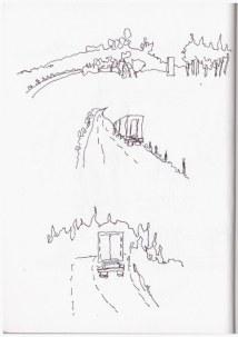 Vorbeifliegende Landschaft von Berlin nach Nürnberg (c) Zeichnung von Susanne Haun