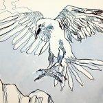 Detail Entstehung Der schwarze Vogel namens Rabe ist im Anflug - 30 x 40 cm - Tusche auf Aquarellkarton Britannia (c) Zeichnung von Susanne Haun