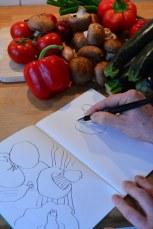 3 Gemüse zeichnen (c) Foto von M.Fanke