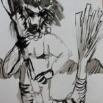 Entstehung Hundemann - Version 1 - 70 x 50 cm (c) Zeichnung von Susanne Haun