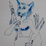 Hundemann - 30 x 40 cm - Tusche auf Aquarellkarton (c) Zeichnung von Susanne Haun